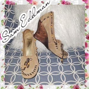 Sam Edelman moccasin wedges heels leather 6.5